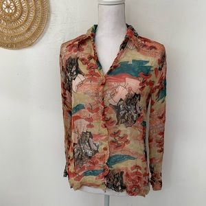 Vintage 1970s disco collar samurai print sheer top